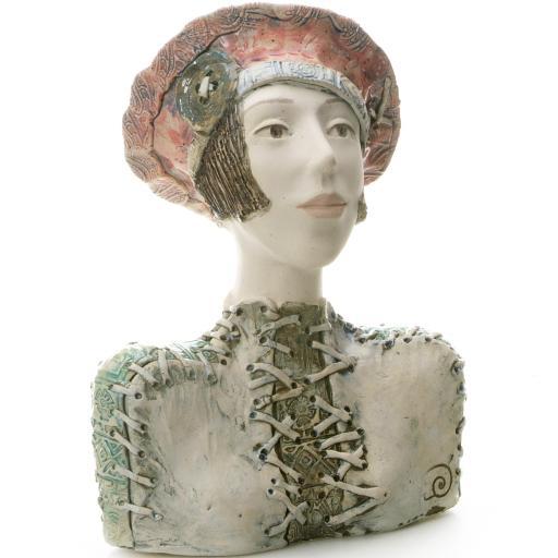 Ceramic Statue Modern Girl in a Beret | Room Decor Sculpture