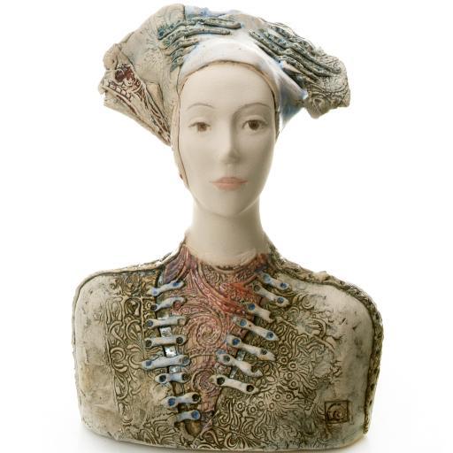 Ceramic Statue Women Bust In Vintage Hat | Room Decor Sculpture
