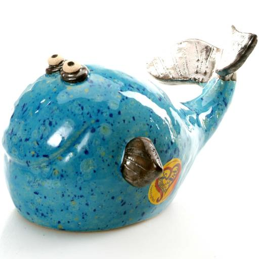 Large Ceramic Whale | Bright Blue