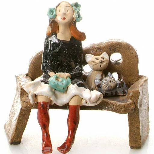 Ceramic Cat Lady Figurine in Black Dress | 2 Tabby Cats